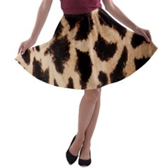 Yellow And Brown Spots On Giraffe Skin Texture A Line Skater Skirt