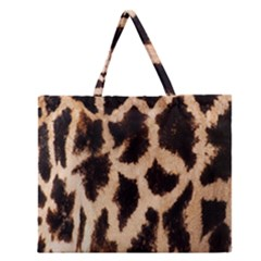Yellow And Brown Spots On Giraffe Skin Texture Zipper Large Tote Bag