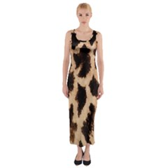 Yellow And Brown Spots On Giraffe Skin Texture Fitted Maxi Dress
