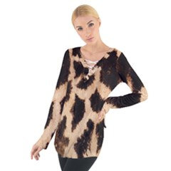Yellow And Brown Spots On Giraffe Skin Texture Women s Tie Up Tee