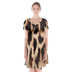 Yellow And Brown Spots On Giraffe Skin Texture Short Sleeve V Neck Flare Dress