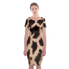 Yellow And Brown Spots On Giraffe Skin Texture Classic Short Sleeve Midi Dress