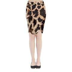 Yellow And Brown Spots On Giraffe Skin Texture Midi Wrap Pencil Skirt