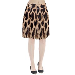 Yellow And Brown Spots On Giraffe Skin Texture Pleated Skirt