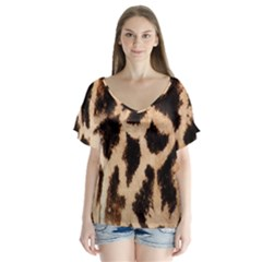 Yellow And Brown Spots On Giraffe Skin Texture Flutter Sleeve Top