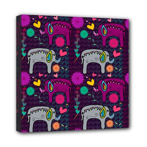 Love Colorful Elephants Background Mini Canvas 8  X 8