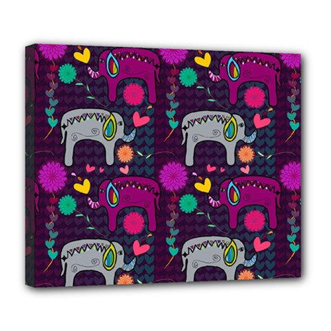 Love Colorful Elephants Background Deluxe Canvas 24  x 20