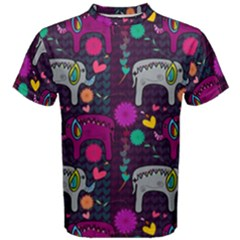 Love Colorful Elephants Background Men s Cotton Tee