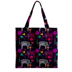Love Colorful Elephants Background Grocery Tote Bag