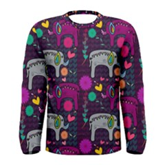 Love Colorful Elephants Background Men s Long Sleeve Tee