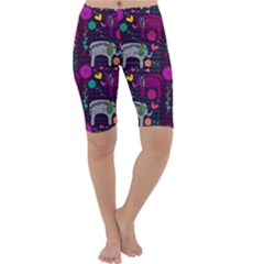Love Colorful Elephants Background Cropped Leggings