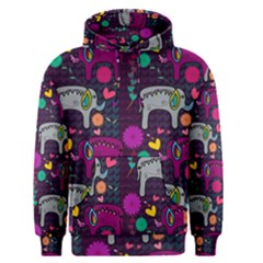 Love Colorful Elephants Background Men s Pullover Hoodie