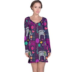 Love Colorful Elephants Background Long Sleeve Nightdress