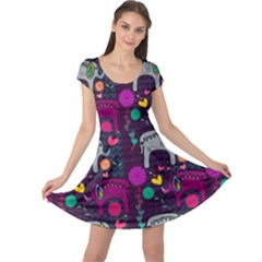 Love Colorful Elephants Background Cap Sleeve Dresses
