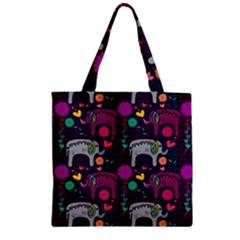 Love Colorful Elephants Background Zipper Grocery Tote Bag