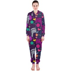 Love Colorful Elephants Background Hooded Jumpsuit (ladies)