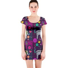 Love Colorful Elephants Background Short Sleeve Bodycon Dress