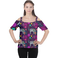 Love Colorful Elephants Background Women s Cutout Shoulder Tee