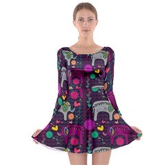 Love Colorful Elephants Background Long Sleeve Skater Dress