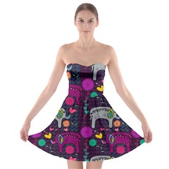 Love Colorful Elephants Background Strapless Bra Top Dress