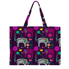Love Colorful Elephants Background Large Tote Bag