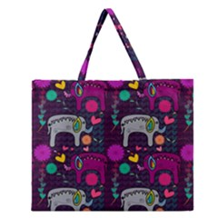 Love Colorful Elephants Background Zipper Large Tote Bag