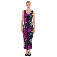 Love Colorful Elephants Background Fitted Maxi Dress