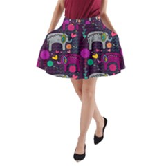 Love Colorful Elephants Background A-Line Pocket Skirt