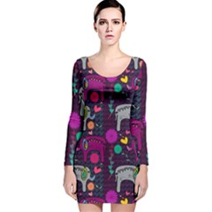 Love Colorful Elephants Background Long Sleeve Velvet Bodycon Dress
