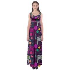Love Colorful Elephants Background Empire Waist Maxi Dress