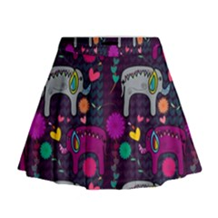 Love Colorful Elephants Background Mini Flare Skirt