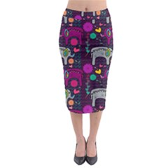 Love Colorful Elephants Background Midi Pencil Skirt