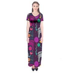 Love Colorful Elephants Background Short Sleeve Maxi Dress