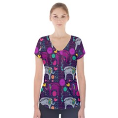 Love Colorful Elephants Background Short Sleeve Front Detail Top