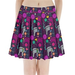 Love Colorful Elephants Background Pleated Mini Skirt