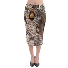 Butterfly Wing Detail Midi Pencil Skirt