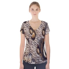 Butterfly Wing Detail Short Sleeve Front Detail Top
