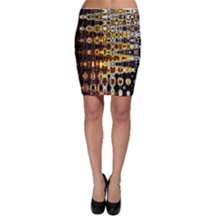 Bright Yellow And Black Abstract Bodycon Skirt