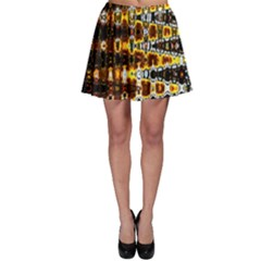 Bright Yellow And Black Abstract Skater Skirt