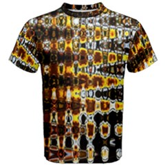 Bright Yellow And Black Abstract Men s Cotton Tee