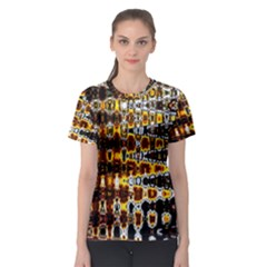 Bright Yellow And Black Abstract Women s Sport Mesh Tee