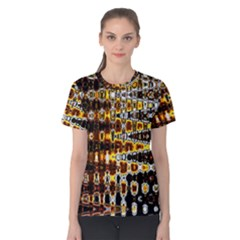 Bright Yellow And Black Abstract Women s Cotton Tee