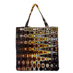 Bright Yellow And Black Abstract Grocery Tote Bag