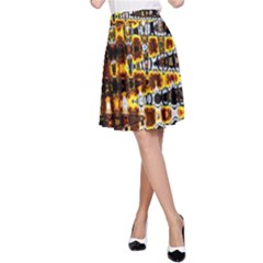 Bright Yellow And Black Abstract A Line Skirt
