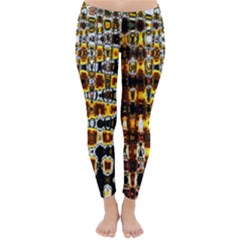 Bright Yellow And Black Abstract Classic Winter Leggings