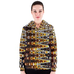 Bright Yellow And Black Abstract Women s Zipper Hoodie