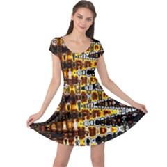 Bright Yellow And Black Abstract Cap Sleeve Dresses