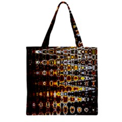 Bright Yellow And Black Abstract Zipper Grocery Tote Bag