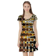 Bright Yellow And Black Abstract Short Sleeve Skater Dress