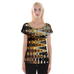 Bright Yellow And Black Abstract Women s Cap Sleeve Top
